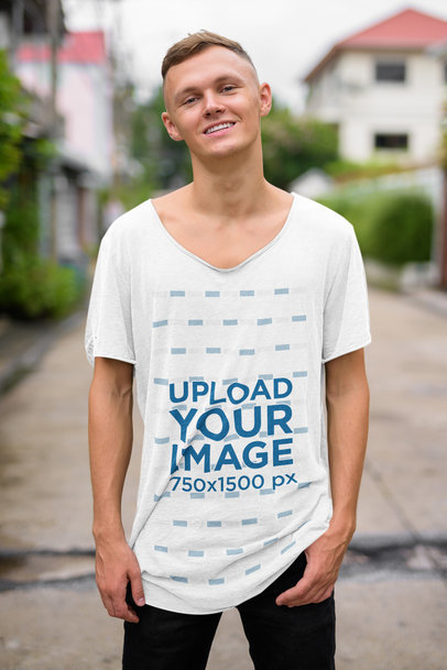 Mockup of a Young Man Wearing a Slouchy Heather T-Shirt 40088-r-el2