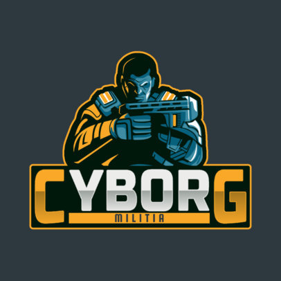 Gaming Logo Template Featuring a Cyborg Character 4305f