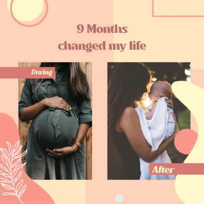 Maternity-Themed Instagram Post Template with Before and After Pictures 3640b