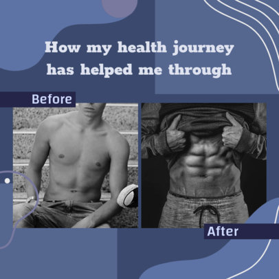 Fitness-Themed Instagram Post Design Template with Before and After Pictures 3640d