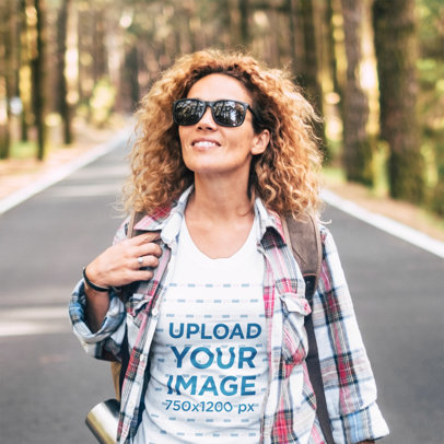 T-Shirt Mockup of a Curly-Haired Woman Traveling 45181-r-el2