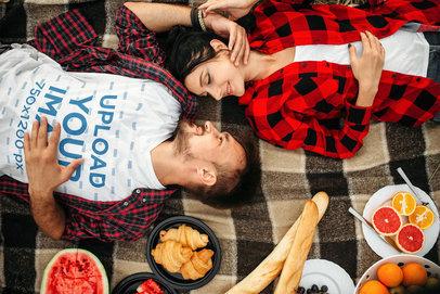 V-Neck T-Shirt Mockup of a Man Laying with His Girlfriend at a Picnic 37702-r-el2