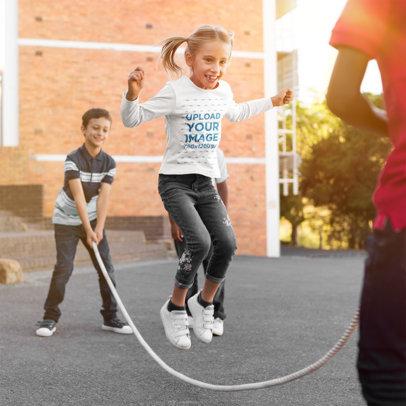 Long Sleeve Tee Mockup of a Girl Jumping Rope 39224-r-el2