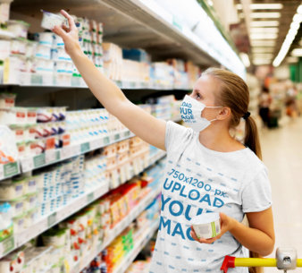 T-Shirt Mockup of a Woman Wearing a Face Mask at the Supermarket 44598-r-el2
