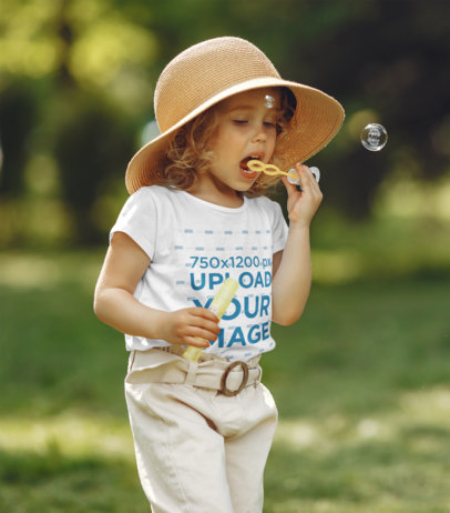 T-Shirt Mockup of a Little Girl Playing with Bubbles 41246-r-el2
