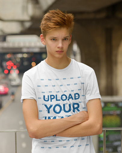 T-Shirt Mockup of a Red-Haired Teenage Boy Posing on the Street 40092-r-el2