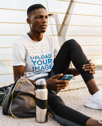 T-Shirt Mockup Featuring a Young Man in Activewear M4350-r-el2