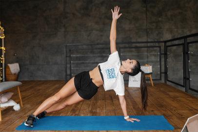 Crop Top Mockup of a Woman Doing a Side Plank m6770-r-el2