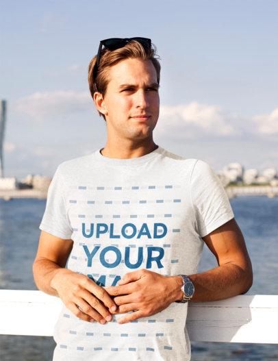 T-Shirt Mockup of a Young Man Posing at a Bay 45772-r-el2