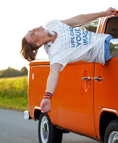 T-Shirt Mockup of a Young Man on a Road Trip 44937-r-el2