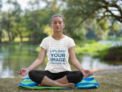 Heathered T-Shirt Mockup Featuring a Relaxed Woman Doing Yoga 41315-r-el2