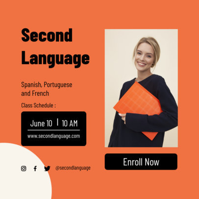 Education-Themed Instagram Post Design Creator for Language Classes 3887f-el1