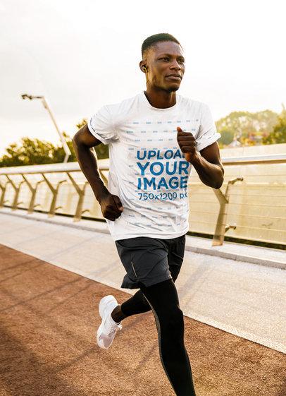Basic T-Shirt Mockup Featuring a Man Running m4340-r-el2
