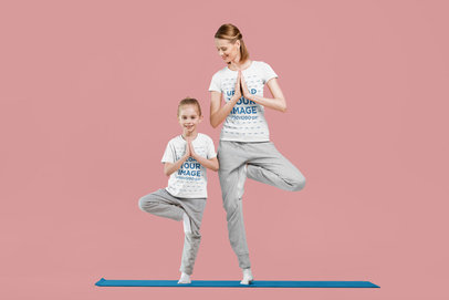 T-Shirt Mockup of a Mom and Daughter Practicing Yoga 45764-r-el2