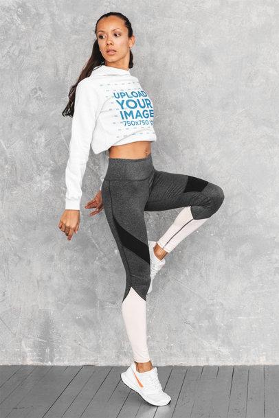 Crop Top Hoodie Mockup of a Fit Woman Doing Short Jumps m4806-r-el2