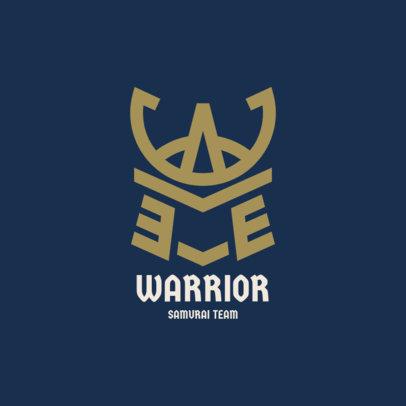 Gaming Logo Template with a Minimalistic Icon of a Samurai Headgear 2819c-el1