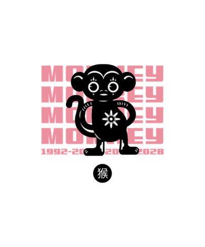 Chinese Zodiac-Inspired T-Shirt Design Creator Featuring a Monkey Illustration 3647c