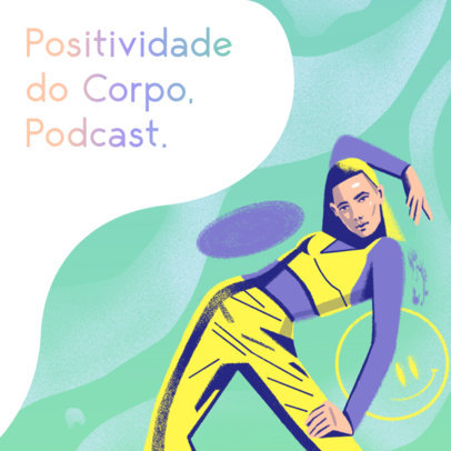 Podcast Cover Generator With a Body Positivity Theme and an LGBTQ Character 4322n