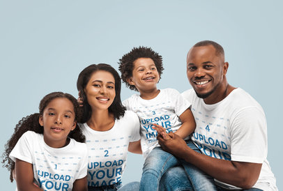 T-Shirt Mockup Featuring a Family of Four in a Studio 46923-r-el2