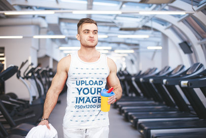 Tank Top Mockup of a Muscular Man Ready to Train at the Gym m5877-r-el2
