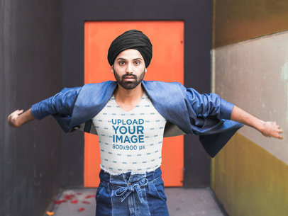 Sublimated V-Neck Tee Mockup of a Man Wearing a Turban 39522-r-el2