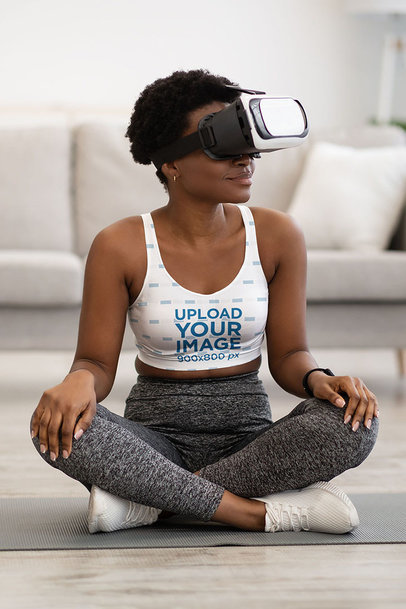Activewear Mockup of a Woman Wearing a Sports Bra and a VR Headset m6482-r-el2