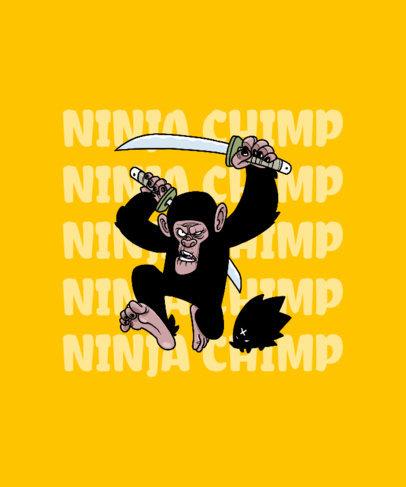 Funny T-Shirt Design Maker with a Ninja Chimp Graphic 2994e-el1