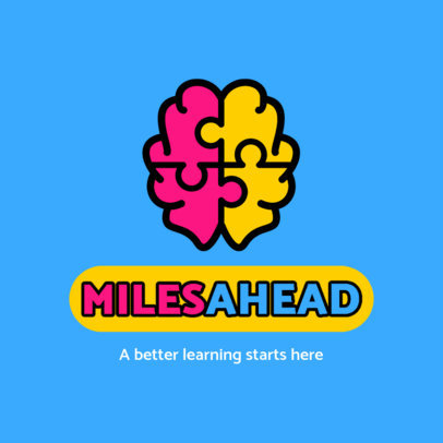 Education Logo Creator with a Brain-Shaped Puzzle Graphic 3936a-el1