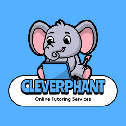 Tutoring Platform Logo Creator Featuring a Baby Elephant Graphic 3938f-el1