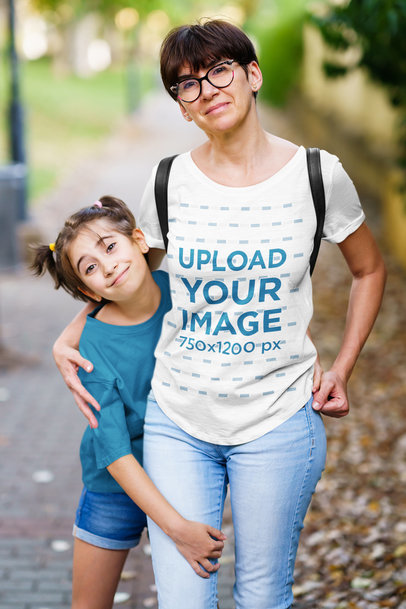 T-Shirt Mockup of a Woman Hanging Out with Her Daughter 45424-r-el2