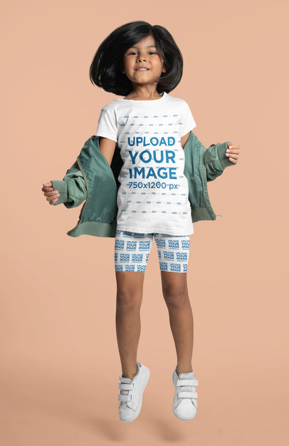 Mockup of a Girl Wearing an Athleisure Look with a T-Shirt and Shorts 42368a