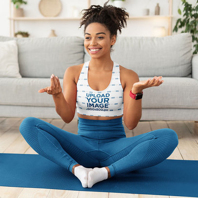 Sports Bra Mockup Featuring Woman Happy to Practice Yoga at Home m6523-r-el2