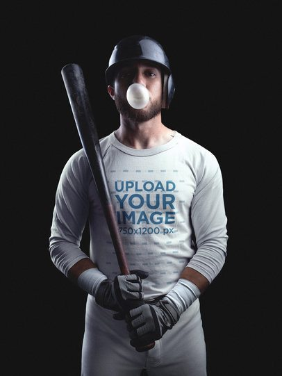 Baseball Uniform Designer - Man with Bubblegum and Baseball Uniform Builder Standing Against a Black Background a15985