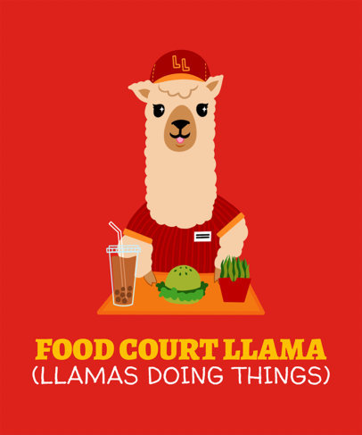 Fun T-Shirt Design Template Featuring Silly Illustrations Llamas 3720