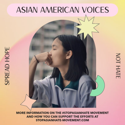 Instagram Post Maker for a Stop Asian Hate Campaign 3702