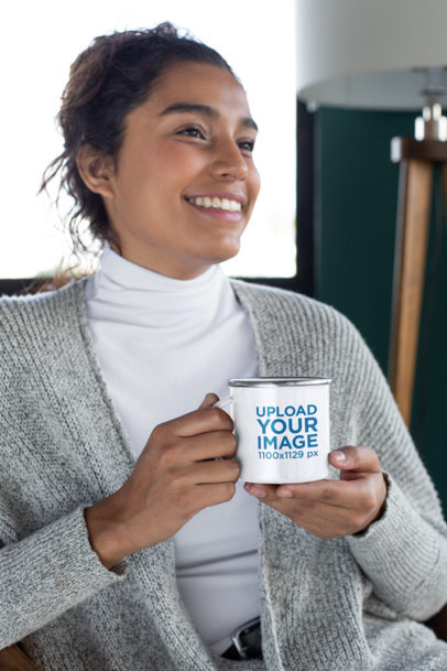12 oz Enamel Mug Mockup Featuring a Woman with Cozy Garments 30834a