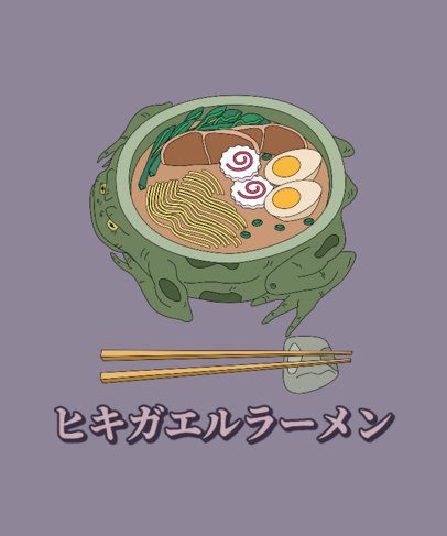 Food T-Shirt Design Template with an Illustrated Bowl of Ramen 3691f