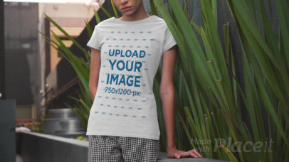 Round-Neck T-Shirt Video of a Woman by an Urban Planter 3387v