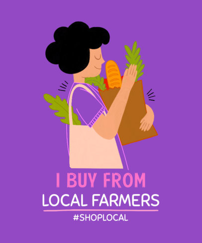 T-Shirt Design Template With a Buy-Local Theme and an Illustration of a Woman Carrying Groceries 3700e