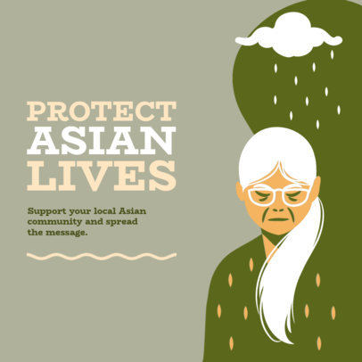 Instagram Post Maker With an AAPI Support Message and a Woman Illustration 3701e
