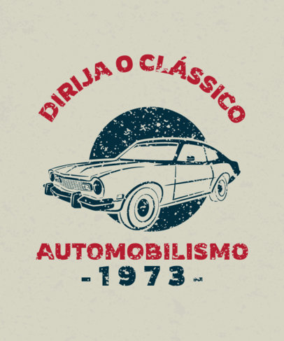 T-Shirt Design Template Featuring a Classic Automobile Graphic 3680f