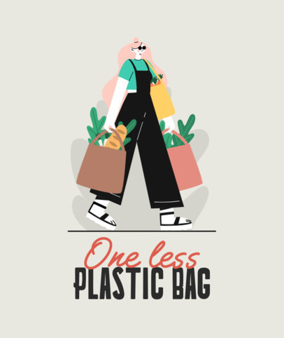 Illustrated Tote Bag Design Generator With a Zero-Waste Theme 3693a