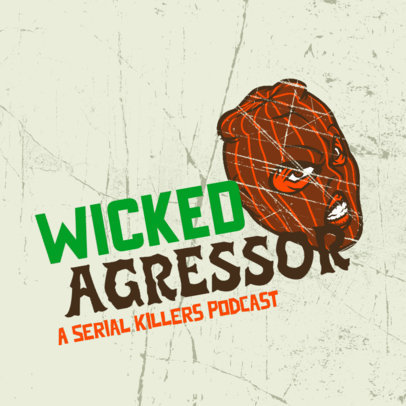Crime-Themed Podcast Cover Design Template Featuring Grunge Background Textures 4357p