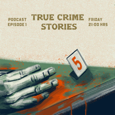 Podcast Cover Design Creator with an Illustrated Crime Scene 4359a