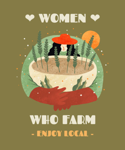 T-Shirt Design Creator Featuring an Female Farmer Illustration 3695b