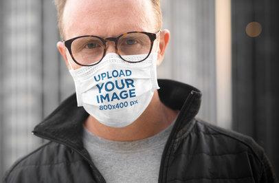 Face Mask Mockup of a Man Wearing Glasses 41982-r-el2