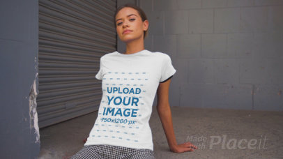 T-Shirt Video Featuring a Young Woman Posing in Urban Settings 3386v