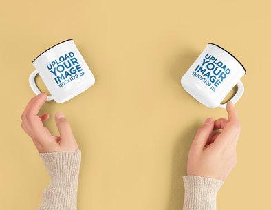Mockup of Two 12 oz Enamel Coffee Mugs m7793-r-el2