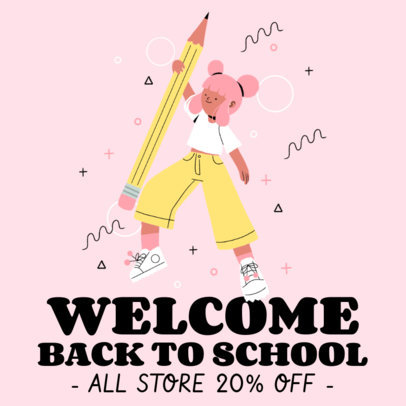 Illustrated Instagram Post Maker With a Back to School Theme 3728