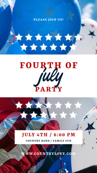 Instagram Story Design Template for a 4th of July Party Invitation 3994d-el1